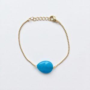 Armband met blauw jade druppel (goud)