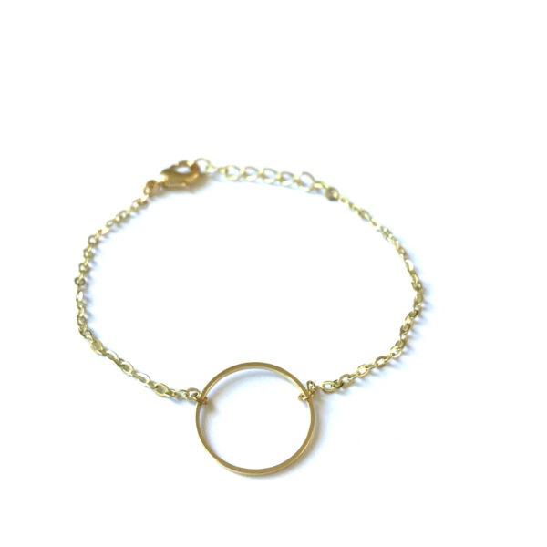 Armband met cirkel bedel goud
