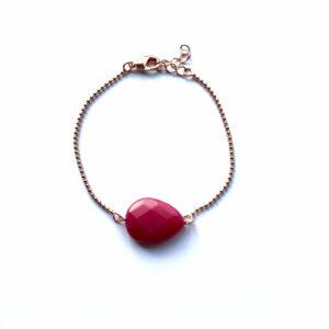 Armband met fuchsia jade druppel rose goud