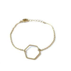 Armband met hexagon bedel goud