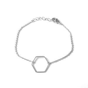 Armband met hexagon bedel zilver