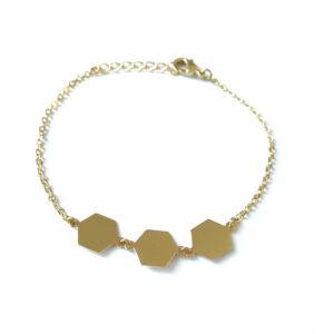Armband met hexagon bedels goud