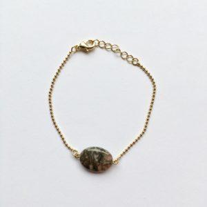 Armband met natuursteen grijs zalmroze bruin ovaal (goud)