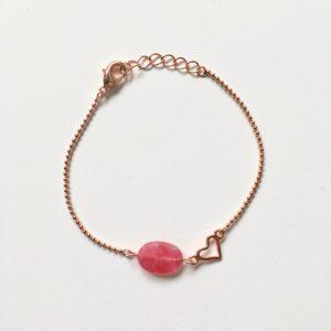 Armband met roze jade ovaal rosé goud