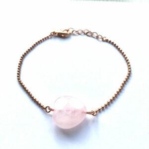 Armband met rozenkwarts hart rose goud