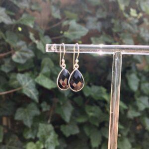Druppel oorbellen edelsteen onyx 925 zilver