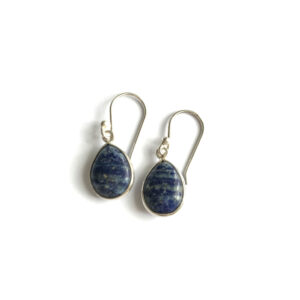Druppel oorbellen glad edelsteen lapis lazuli 925 zilver