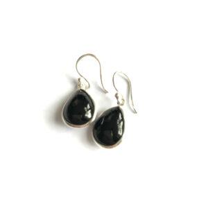 Druppel oorbellen glad edelsteen onyx 925 zilver
