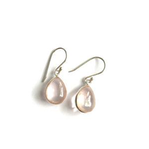 Druppel oorbellen glad edelsteen rozenkwarts 925 zilver