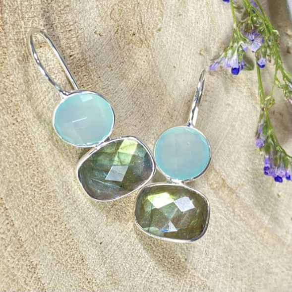 Edelsteen oorbellen Aqua Chalcedony met labradoriet 925 zilver