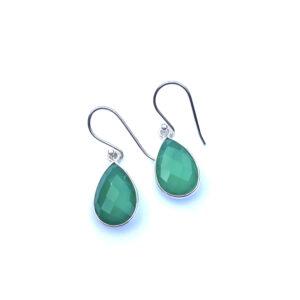Edelsteen oorbellen green onyx 925 zilver