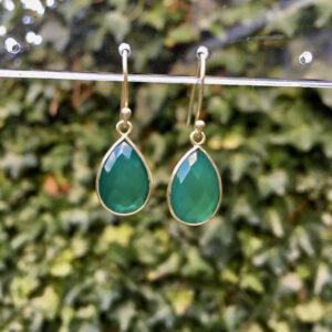 Edelsteen oorbellen green onyx 925 zilver verguld