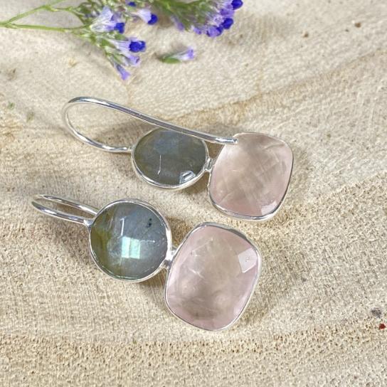 Edelsteen oorbellen labradoriet met rozenkwarts 925 zilver