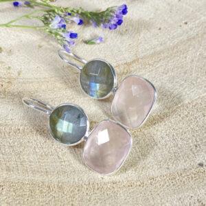 Edelsteen oorbellen labradoriet met rozenkwarts 925 zilver 2