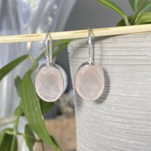 Edelsteen oorbellen ovaal rozenkwarts 925 zilver
