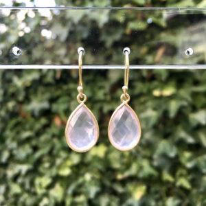 Edelsteen oorbellen rozenkwarts 925 zilver verguld