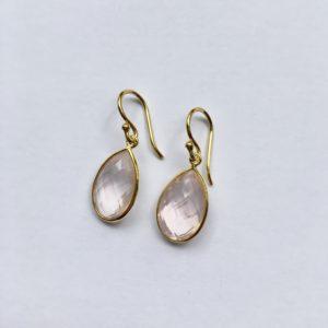 Edelsteen oorbellen rozenkwarts goud 925 zilver