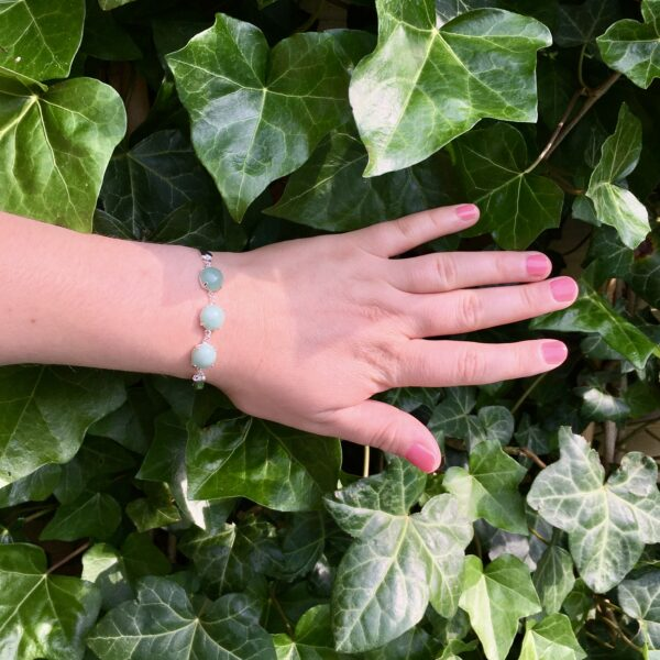 Fijne armband met natuursteen bedels groen zilver