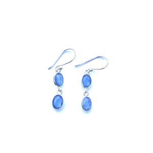Fijne edelsteen oorbellen Blue Chalcedony 925 zilver
