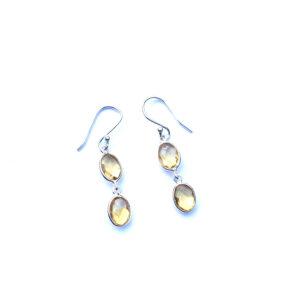 Fijne edelsteen oorbellen citrien 925 zilver