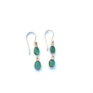 Fijne edelsteen oorbellen green onyx 925 zilver verguld