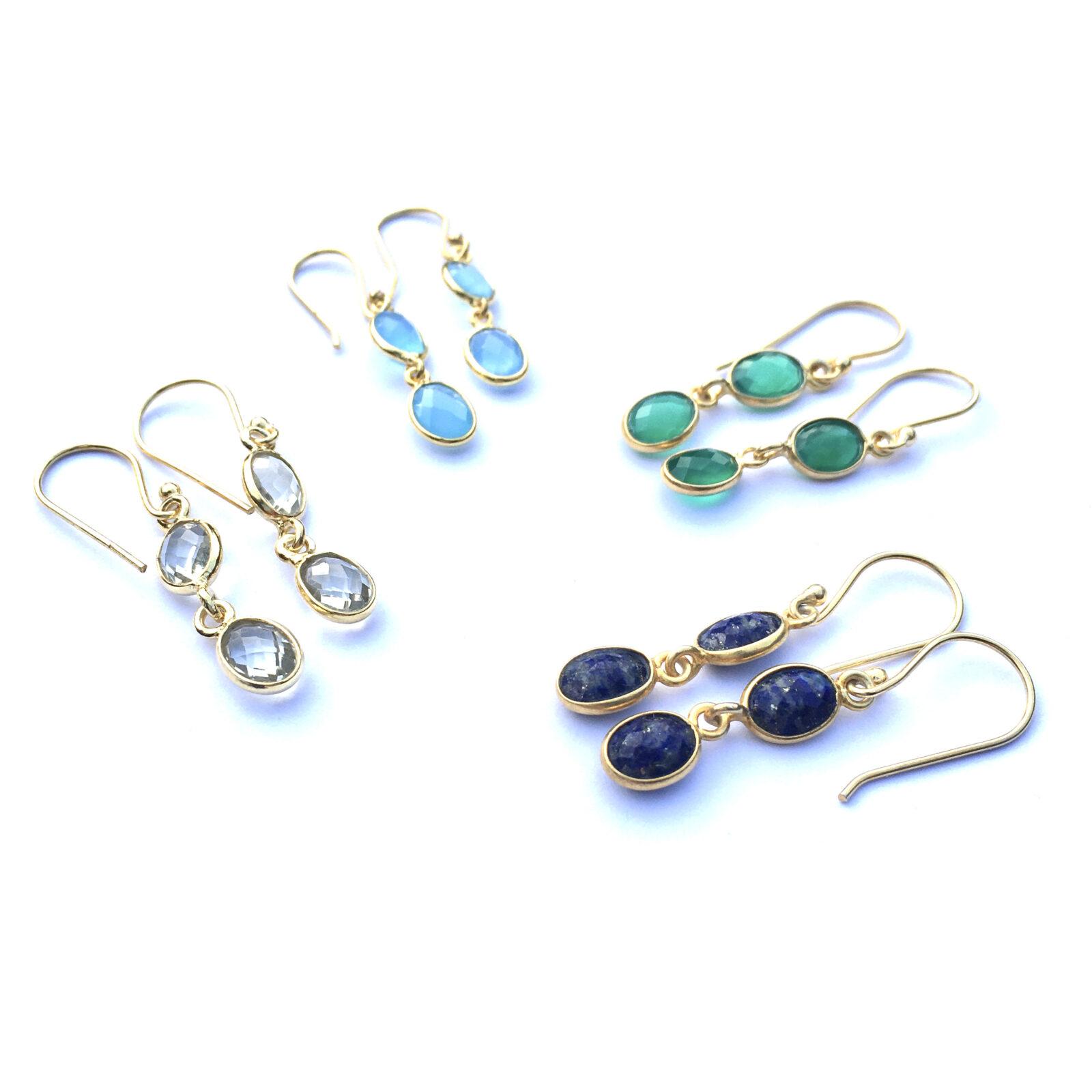 Fijne edelsteen oorbellen groene onyx blauwe chalcedoon lapis lazuli groene amethist 925 zilver verguld