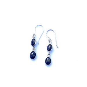 Fijne edelsteen oorbellen lapis lazuli 925 zilver