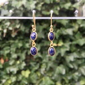 Fijne edelsteen oorbellen lapis lazuli 925 zilver verguld goud