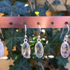 Fijne edelsteen oorbellen mountain crystal ovaal 925 zilver