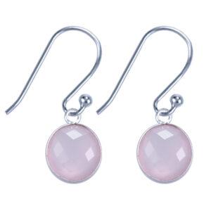 Fijne edelsteen oorbellen rond rozenkwarts 925 zilver