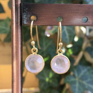 Fijne edelsteen oorbellen rond rozenkwarts 925 zilver verguld