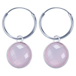 Fijne edelsteen oorringen rond rozenkwarts 925 zilver