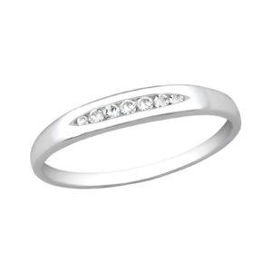 Fijne zilveren ring met 7 kleine zirkonia maat 55
