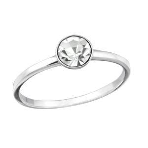 Fijne zilveren ring met Swarovski kristal maat 7 (M,17)
