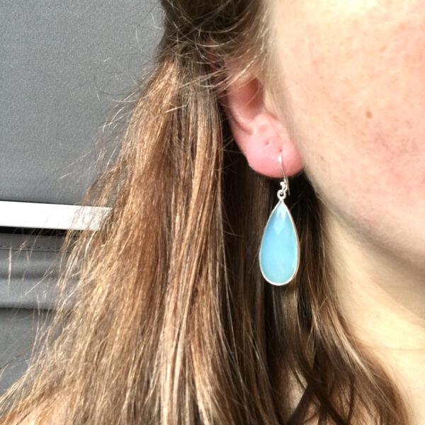 Grote edelsteen oorbellen Aqua Chalcedony druppel 925 zilver