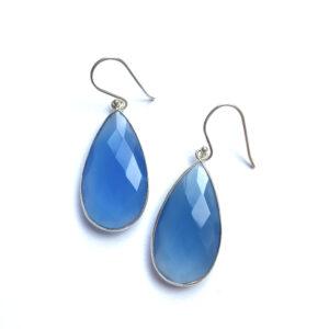 Grote edelsteen oorbellen Blue Chalcedony druppel 925 zilver