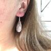 Grote edelsteen oorbellen in druppel vorm rozenkwarts 925 sterling zilver