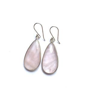Grote edelsteen oorbellen in druppel vorm rozenkwarts 925 zilver 3