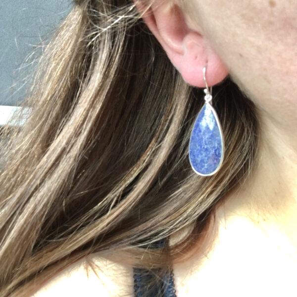 Grote edelsteen oorbellen lapis lazuli druppel 925 sterling zilver