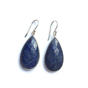 Grote edelsteen oorbellen lapis lazuli druppel 925 zilver