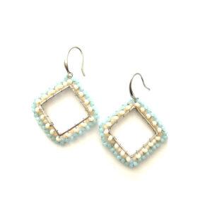 Grote vierkante oorbellen blauw beige zilver