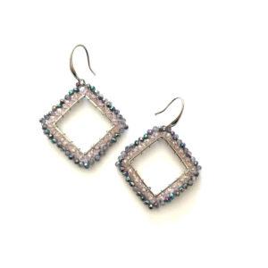 Grote vierkante oorbellen paars roze zilver