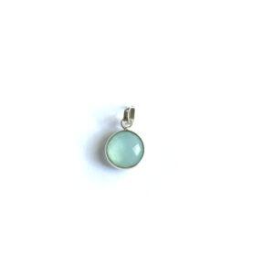Hanger met ronde edelsteen Aqua Chalcedony 925 zilver