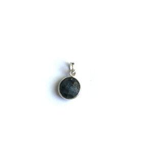 Hanger met ronde edelsteen Black Tiger Eye 925 zilver