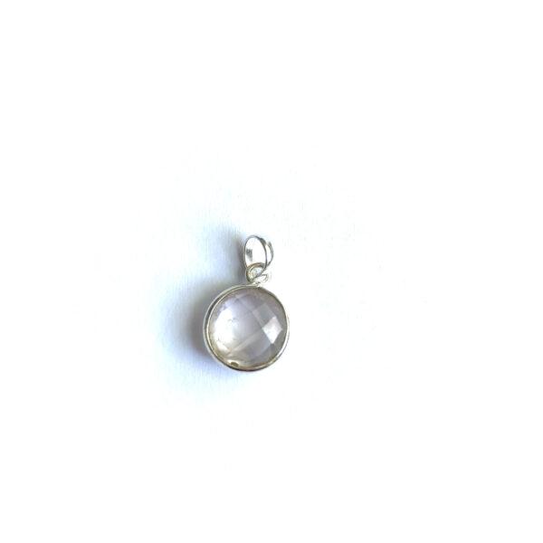 Hanger met ronde edelsteen rozenkwarts 925 zilver