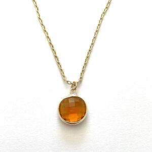 Ketting met hanger geelbruin (glasbedel) goud