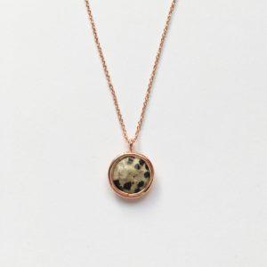 Ketting met hanger natuursteen bruin zwart rosé goudkleurig