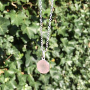 Ketting met hanger rozenkwarts zilver