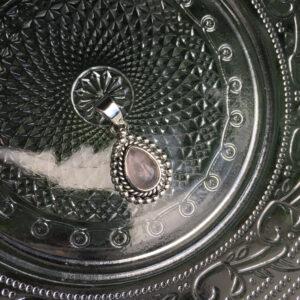 Kettinghanger met druppel edelsteen rozenkwarts 925 zilver