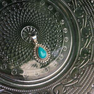 Kettinghanger met druppel edelsteen turkoois 925 zilver